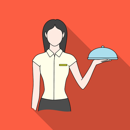 serving tray: The waitress.Professions single icon in flat style vector symbol stock illustration web.