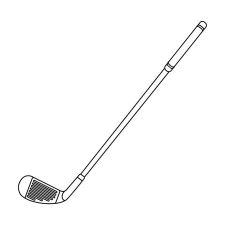 골프에 대 한 퍼 터입니다 .Golf 클럽 개요 스타일에서 단일 아이콘 벡터 기호 재고 일러스트 웹.