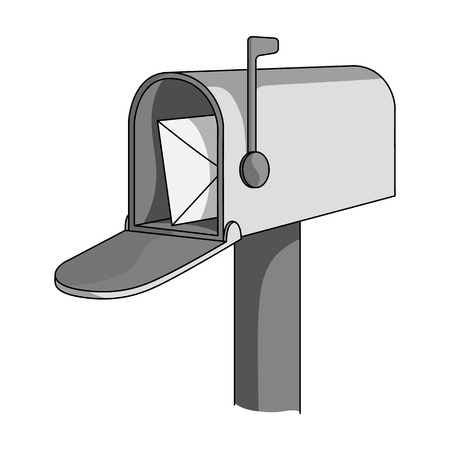 Correspondence box.Mail and postman single icon in monochrome style vector symbol stock illustration .