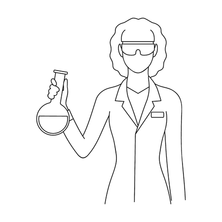 Chemist.Professions single icon in outline style vector symbol stock illustration .