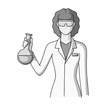 Chemist.Professions single icon in monochrome style vector symbol stock illustration web.