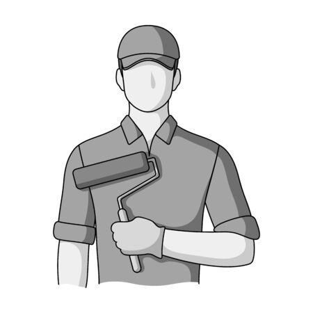 Painter.Professions single icon in monochrome style vector symbol stock illustration web.