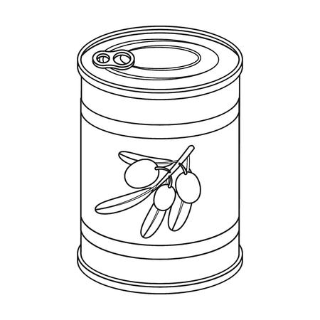 缶の缶詰のオリーブ。オリーブは単一アウトライン スタイルのベクトル シンボル ストック イラスト web のアイコンです。