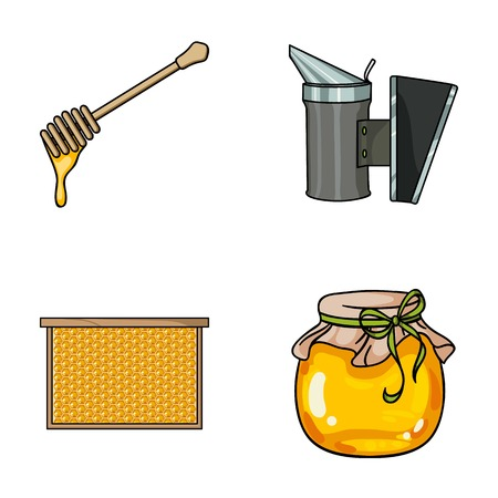 Apiary set collection icons in cartoon style vector symbol stock illustration web. Illustration
