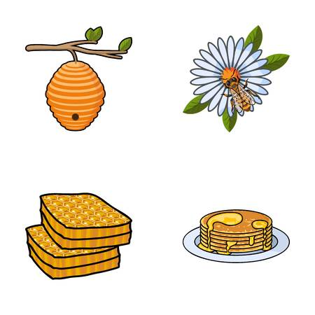 A hive on a branch, a bee on a flower, a honeycomb with honey, a honey cake.Apiary set collection icons in cartoon style vector symbol stock illustration web.