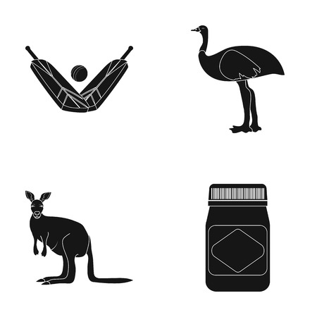 A game of cricket, an emu ostrich, a kangaroo, a popular food.Australia set collection icons in black style vector symbol stock illustration web.