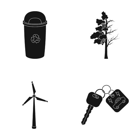 diseased: A garbage can, a diseased tree, a wind turbine, a key to a bio car.Bio and ecology set collection icons in black style vector symbol stock illustration web.