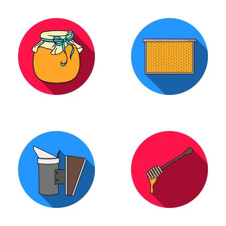 A frame with honeycombs, a ladle of honey, a pest control from bees, a jar of honey. Apiary set collection icons in flat style vector symbol stock illustration web.