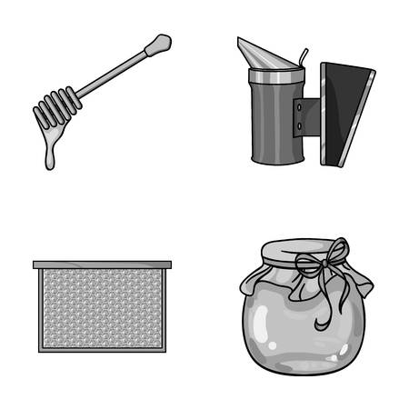 A frame with honeycombs, a ladle of honey, a pest control from bees, a jar of honey.Apiary set collection icons style vector symbol stock illustration web.