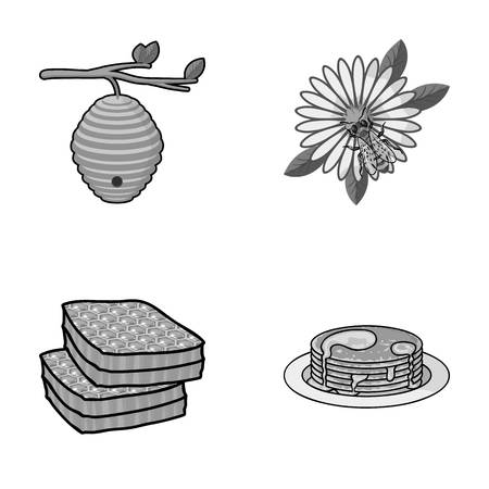 A hive on a branch, a bee on a flower, a honeycomb with honey, a honey cake.Apiary set collection icons style vector symbol stock illustration web.