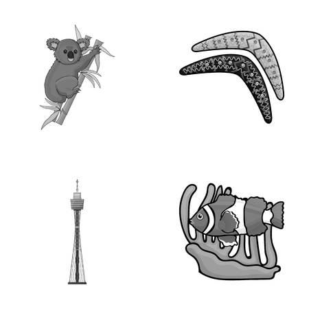 Koala on bamboo, boomerang, Sydney tower, fish clown and ammonium. Australia set collection icons style vector symbol stock illustration web.