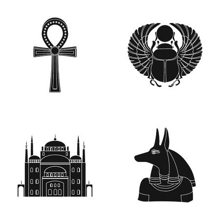 Anubis, Ankh, Cairo citadel, Egyptian bug. Ancient Egypt set collection icons in black style vector symbol stock illustration web. Illustration