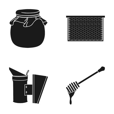A frame with honeycombs, a ladle of honey, a pest control from bees, a jar of honey.Apiary set collection icons in black style vector symbol stock illustration web.