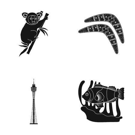 Koala on bamboo, boomerang, Sydney tower, fish clown and ammonium.Australia set collection icons in black style vector symbol stock illustration web.
