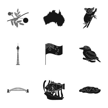 National symbols of australia. Web icon on Australia theme. Australia icon in set collection on black style vector symbol stock illustration.
