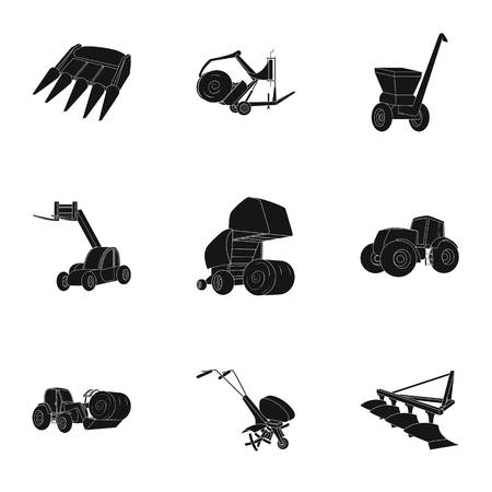 Set of pictures about agricultural tools. Cars to robots to the ground.