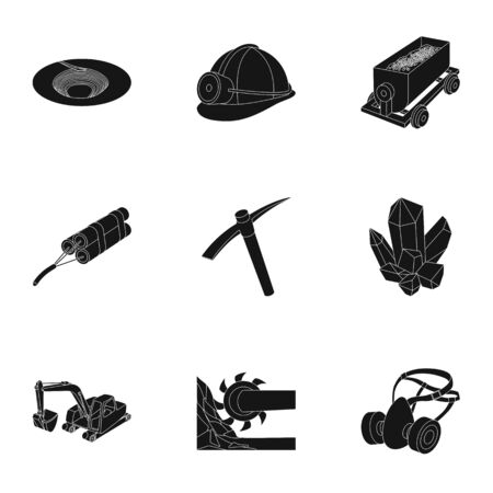 Set of icons about the mine. The extraction of coal, mineral, protection of the miners. Processing of coal. Mine industral icon in set collection on black style vector symbol stock illustration.
