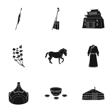 mongolia horse: Mongolian national characteristics. Icons set about Mongolia.Clothing, soldiers, equipment. Mongolia icon in set collection on black style vector symbol stock illustration. Illustration