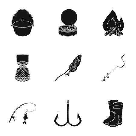 Summer and winter fishing, outdoor recreation, fishing, fish.Fishing icon in set collection on black style vector symbol stock illustration. Illustration