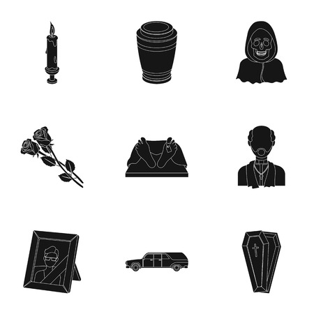 Funeral ceremony, cemetery, coffins, priest.Funeral ceremony icon in set collection on black style vector symbol stock illustration.