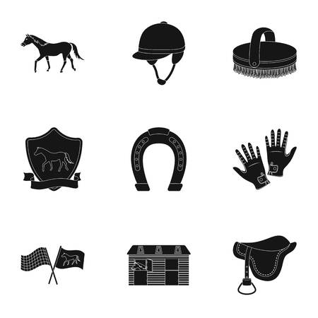 racecourse: Races on horseback, hippodrome. Horse racing and equipping riders.Hippodrome and horse icon in set collection on black style vector symbol stock illustration. Illustration
