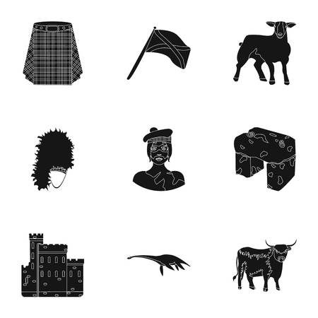 National symbols of Scotland. Scottish attractions. Scotland country icon in set collection on black style vector symbol stock illustration.