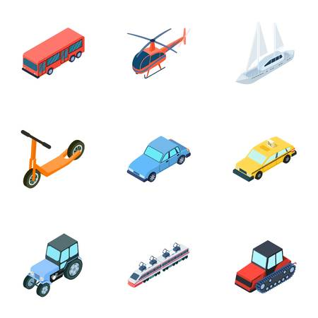 water bus: Transportation icon in set collection on cartoon isometric style vector symbol stock illustration. Illustration
