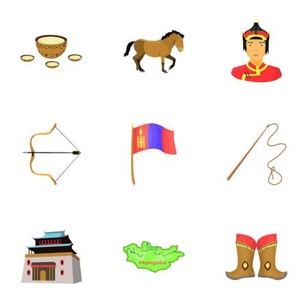 Mongolian national characteristics. Icons set about Mongolia.Clothing, soldiers, equipment. Mongolia icon in set collection on cartoon style vector symbol stock illustration. Illustration