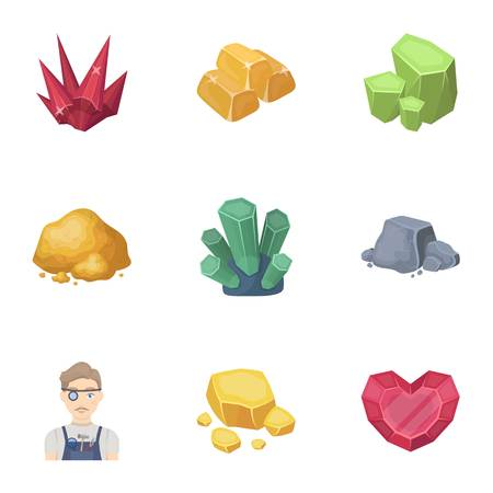 Precious mineral icon in set collection on cartoon style vector symbol stock illustration.