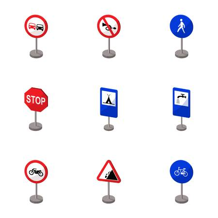 Set of road signs. Signs of prohibition, permission, priority. Road signs icon in set collection on cartoon style vector symbol stock illustration. Illustration