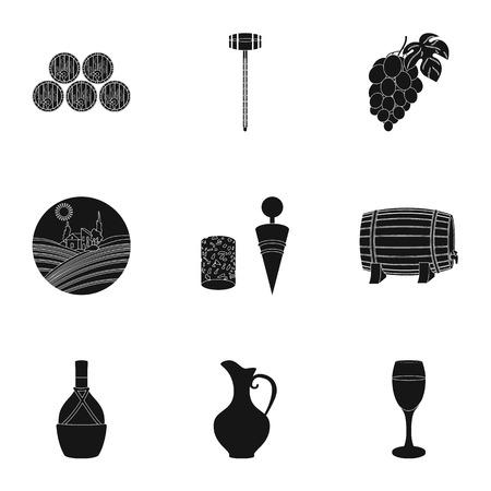 ワイン製品。成長のブドウ、ワイン。つる生産アイコン黒スタイル ベクトル シンボル ストック イラストをセットのコレクション。  イラスト・ベクター素材