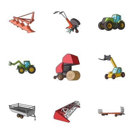 Set of pictures about agricultural machinery. Cars to robots to the ground.Agricultural Machinery icon in set collection on cartoon style vector symbol stock illustration. Illustration