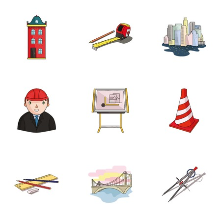 megapolis: A set of icons on the theme of construction and architects. Builders, architects, and subjects for construction . Architect icon in set collection on cartoon style vector symbol stock illustration. Illustration