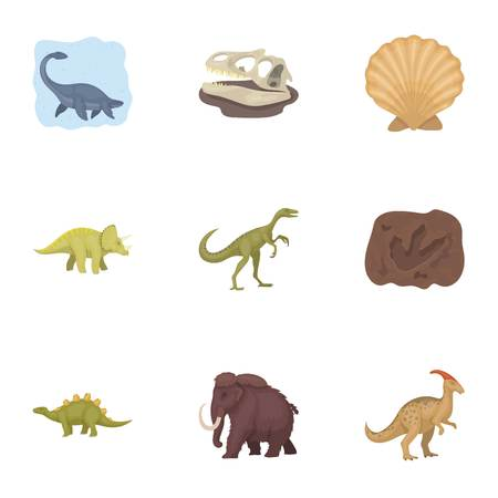 tyrannosaurs: Dinosaurs and prehistorical icon in set collection on cartoon style vector symbol stock illustration. Illustration