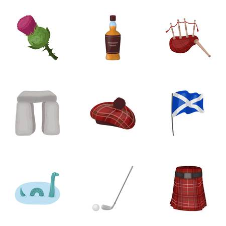 bagpipe: National symbols of Scotland. Scottish attractions. Scotland country icon in set collection on cartoon style vector symbol stock illustration. Illustration