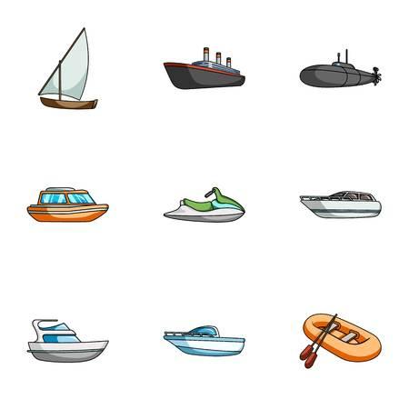 Zeevervoer, boten, schepen. Om mensen te vervoeren, onweersbuien. Schip en water transport pictogram in vastgestelde inzameling op cartoon stijl vector symbool stock illustratie.