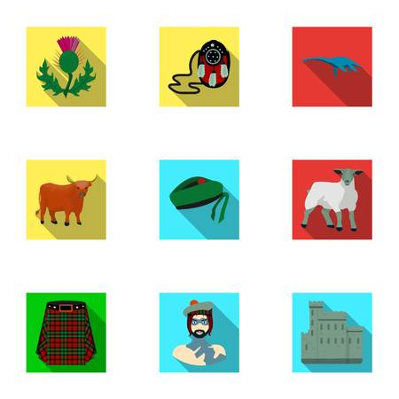 National symbols of Scotland. Scottish attractions. Scotland country icon in set collection on flat style vector symbol stock illustration.