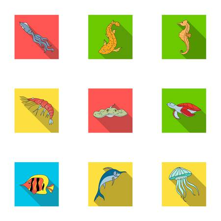 Marine and river inhabitants. Fish, whales, octopuses. Sea animal icon in set collection on flat style vector symbol stock illustration. Çizim