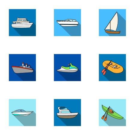 Zeevervoer, boten, schepen. Om mensen te vervoeren, onweersbuien. Schip en water transport pictogram in set collectie op vlakke stijl vector symbool stock illustratie. Stock Illustratie