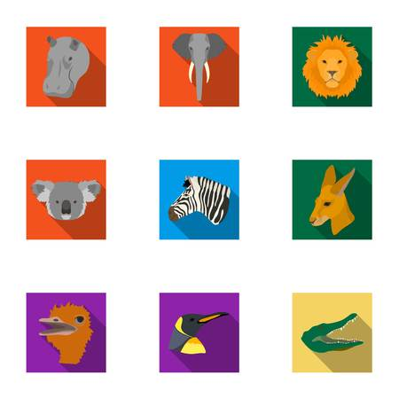 A set of icons of wild animals. Predatory and peaceful wild animals.Realistic animal icon in set collection on flat style vector symbol stock illustration.