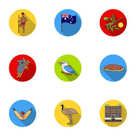 National symbols of australia. Web icon on Australia theme. Australia icon in set collection on flat style vector symbol stock illustration. Illusztráció
