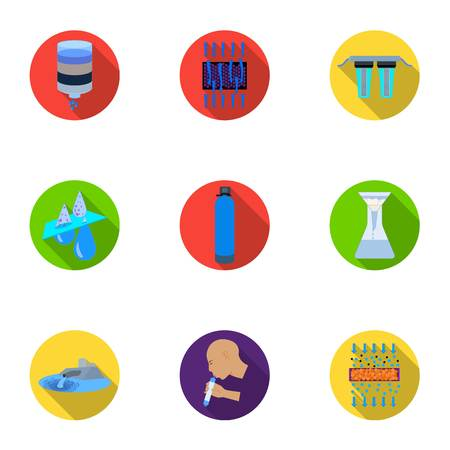 Set of icons importance of water. Illustration