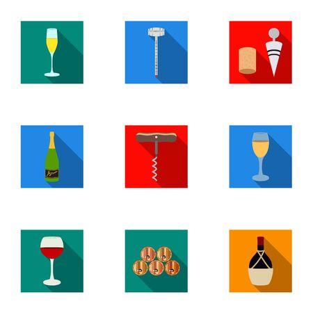 ワイン製品。成長のブドウ、ワイン。フラット スタイルのベクトル シンボル ストック イラストをセットのコレクションのつる生産アイコン。