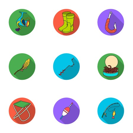 Summer and winter fishing, outdoor recreation, fishing, fish.Fishing icon in set collection on flat style vector symbol stock illustration. Stock Vector - 77849118
