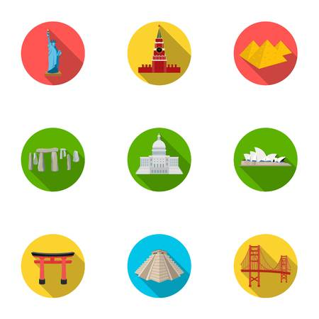 rom: Sights of the countries of the world. Famous buildings and monuments of different countries and cities. Countries icon in set collection on flat style vector symbol stock illustration.