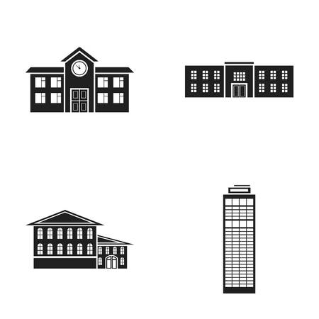 Skyscraper, police, hotel, school.Building set collection icons in black style vector symbol stock illustration web.