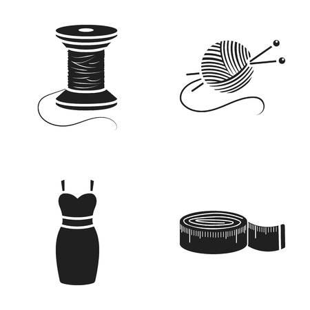 Spule des Fadens, Zentimeter, Kleid, Ball des Threads mit Stricknadeln Atelier eingestellte Sammlungsikonen in der Karikatur reden Vektorsymbol-Vorratillustration an.