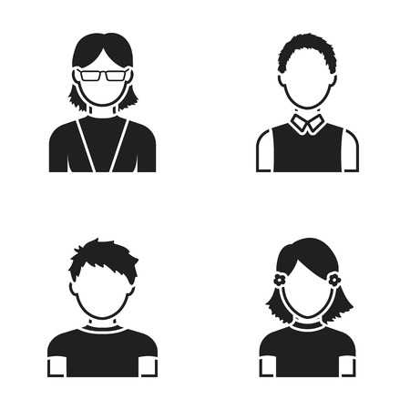 red haired woman: Red-haired boy, teen girl, grandmother wearing glasses.Avatar set collection icons in black style vector symbol stock illustration web.