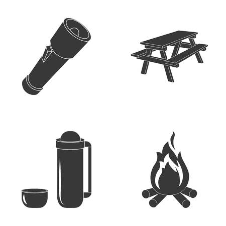 A flashlight, a table with a bench, a thermos with a cup, a caster. Camping set collection icons in black style vector symbol stock illustration web.