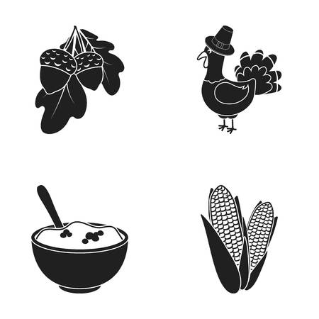 Acorns, corn.arthene puree, festive turkey,Canada thanksgiving day set collection icons in black style vector symbol stock illustration web.